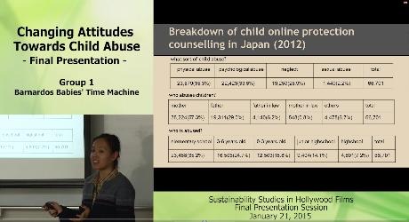 補助教材の例:Changing Attitudes Towards Child Abuse -Final Presentaition- Group1 Barnardos Babies' Time Machine Breakdown of child online protection counselling in Japan(2012)
