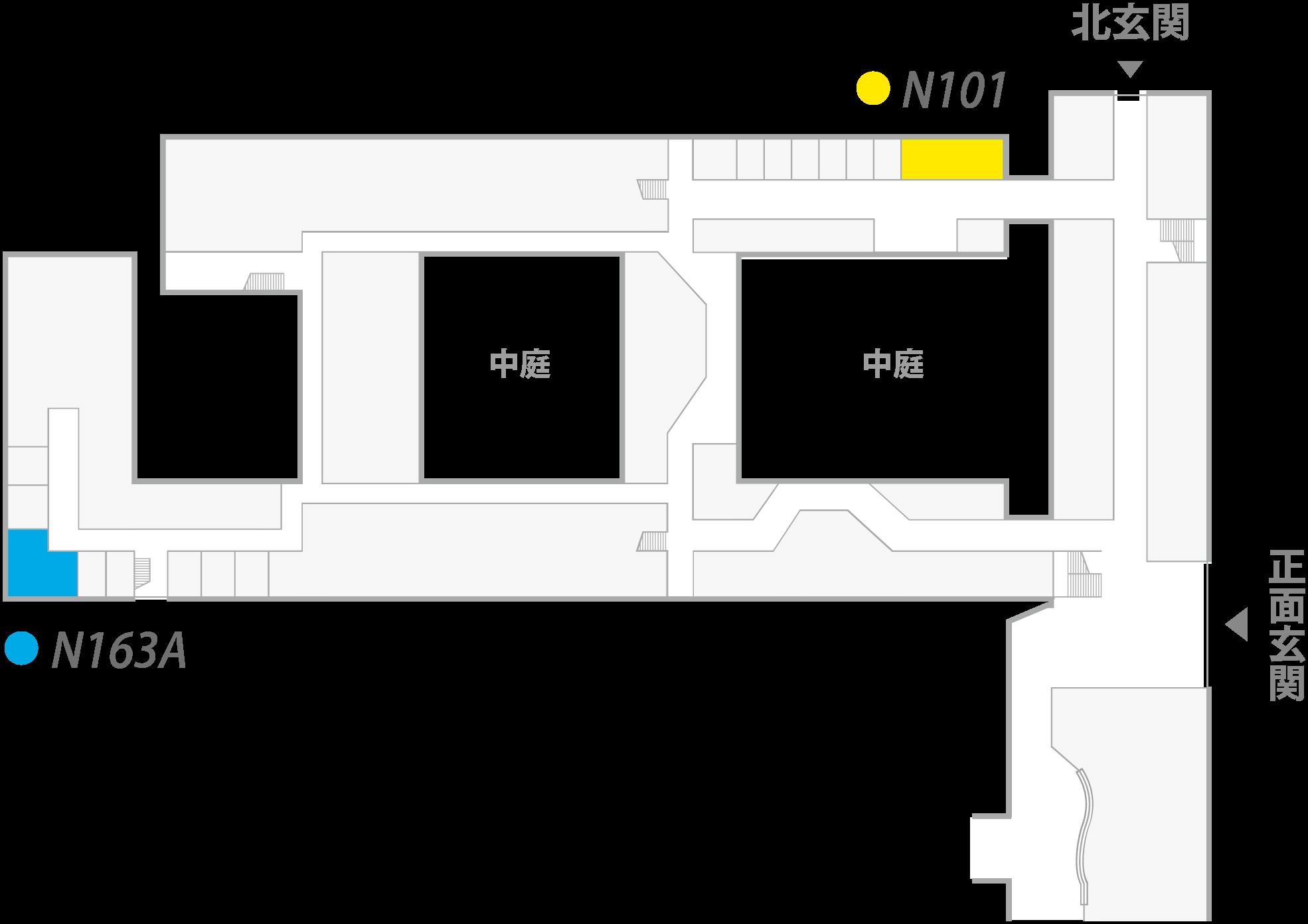N101:センター本部およびeラーニング部門 N163A:科学技術コミュニケーション教育研究部門(CoSTEP)